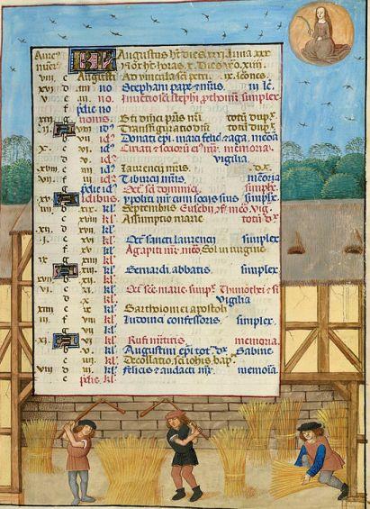 El mes de agosto en un manuscrito de la British Library